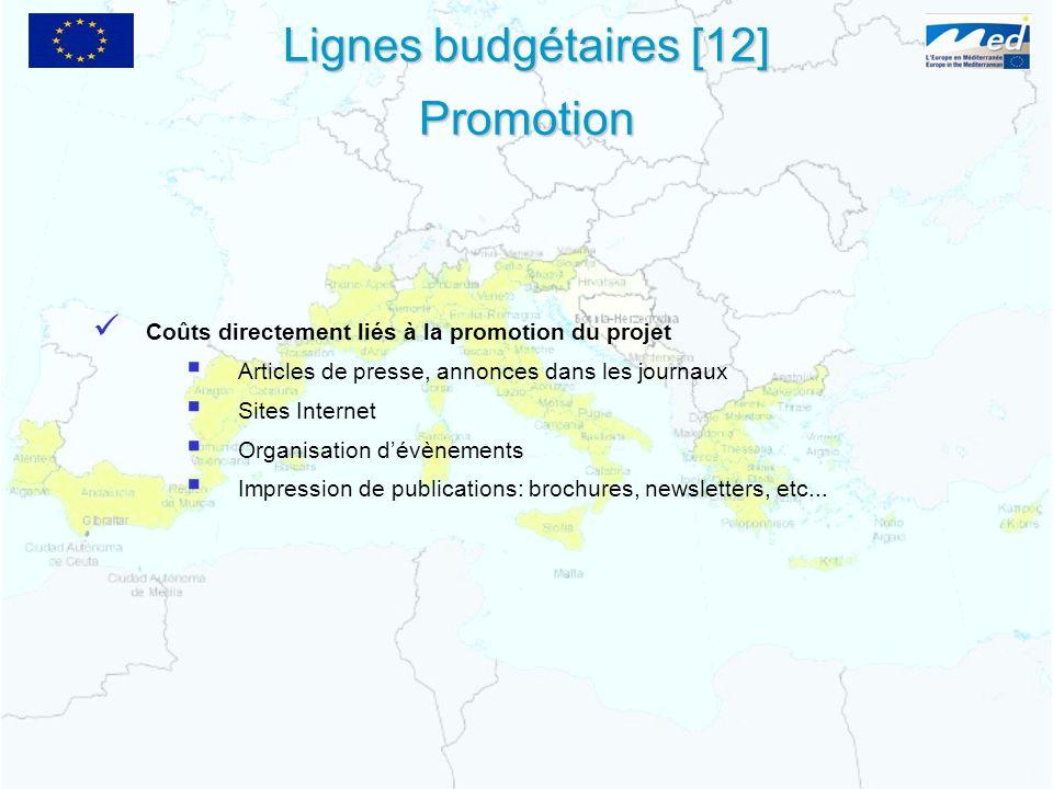 Lignes budgétaires [12] Promotion